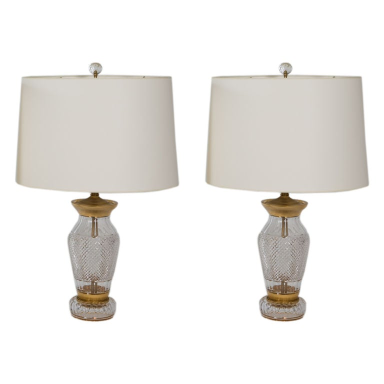 Pair of Cut Crystal Lamps For Sale