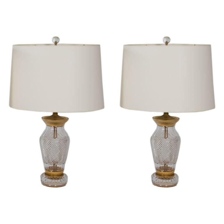 Pair of Cut Crystal Lamps
