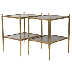 Pair of French Bronze End Tables