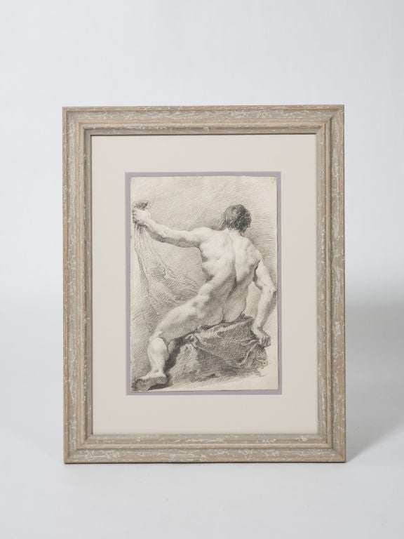 Pair of excellent 19th century Academy pencil drawings of male nudes. Expertly framed in new cerused oak frames.<br />
