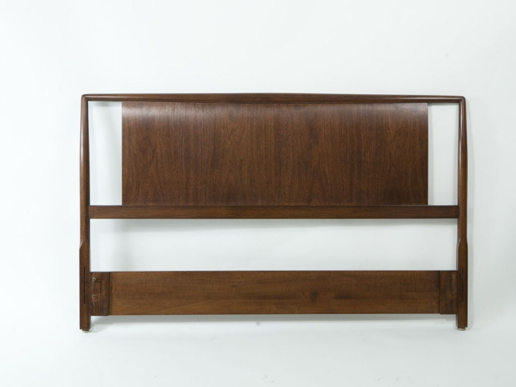 Robsjohn-Gibbings for Widdicomb headboard for full size bed. Newly restored in an expresso finish. Matching mirror also available.