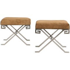 Pair of Neoclassical Greek Key Benches