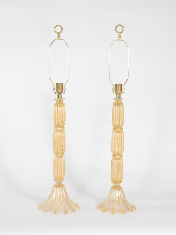Italian Pair of Seguso Lamps For Sale
