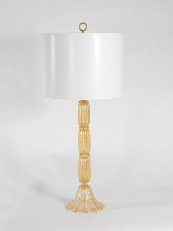 Murano Glass Pair of Seguso Lamps For Sale