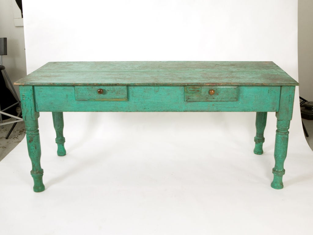 Mid-20th Century Antique Painted Farm Table For Sale