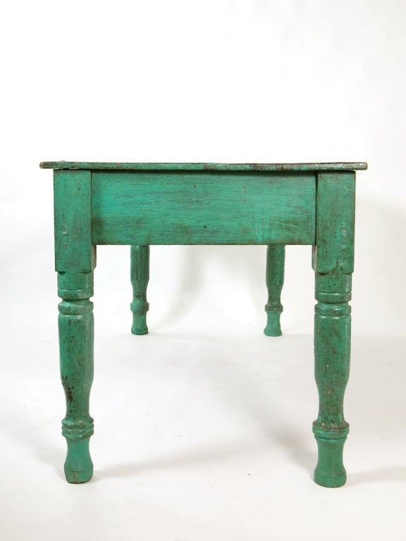 Wood Antique Painted Farm Table For Sale