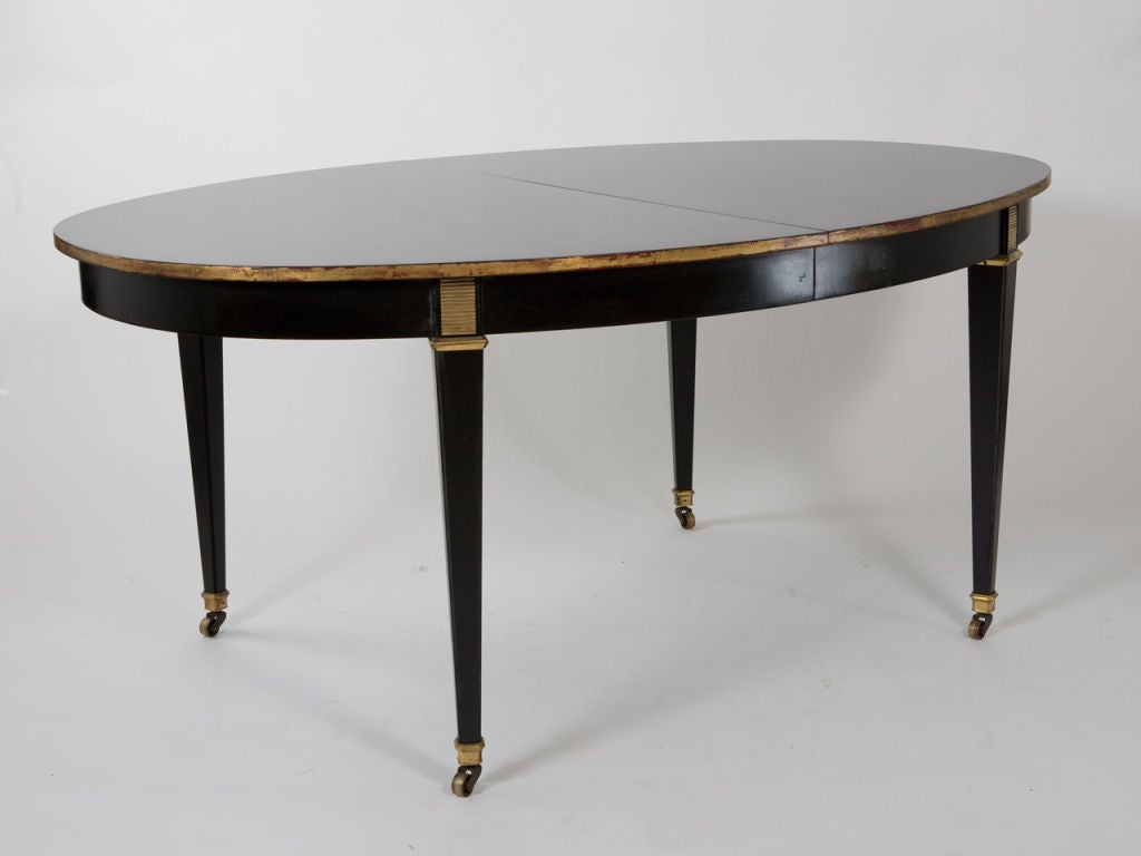 Oval black lacquer dining table at 1stdibs for Black dining table