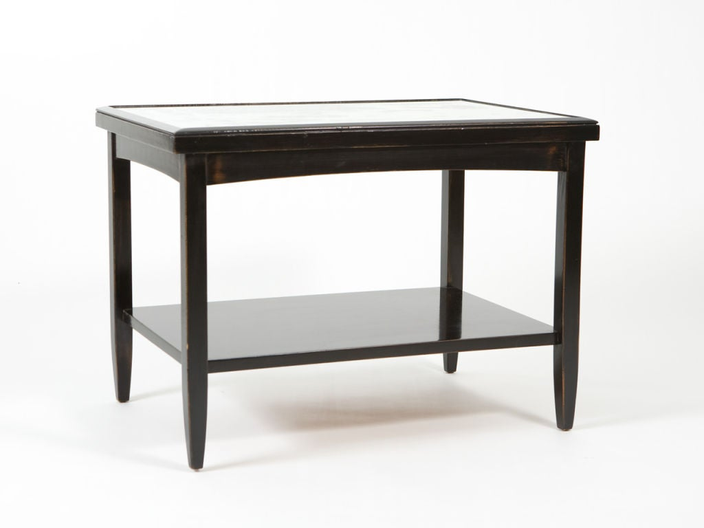 20th Century Pair of Ebonized End Tables with Antique Mirror Tops For Sale