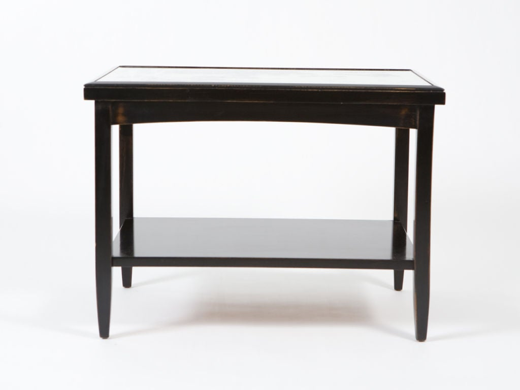 Pair of Ebonized End Tables with Antique Mirror Tops For Sale 1