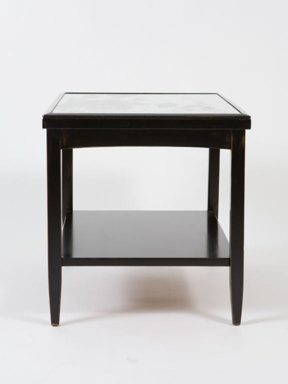 Pair of Ebonized End Tables with Antique Mirror Tops For Sale 3