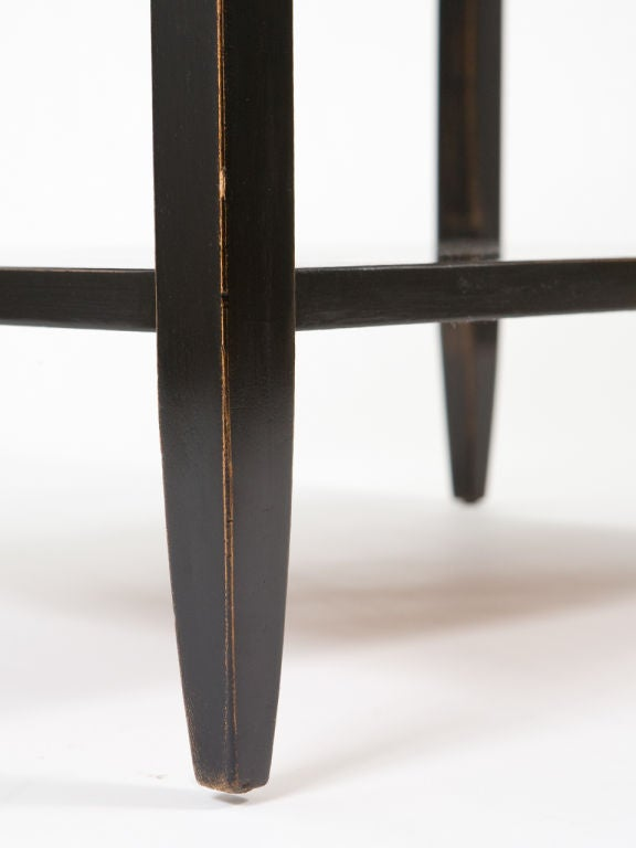 Pair of Ebonized End Tables with Antique Mirror Tops For Sale 4