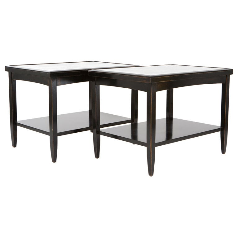 Pair of Ebonized End Tables with Antique Mirror Tops For Sale