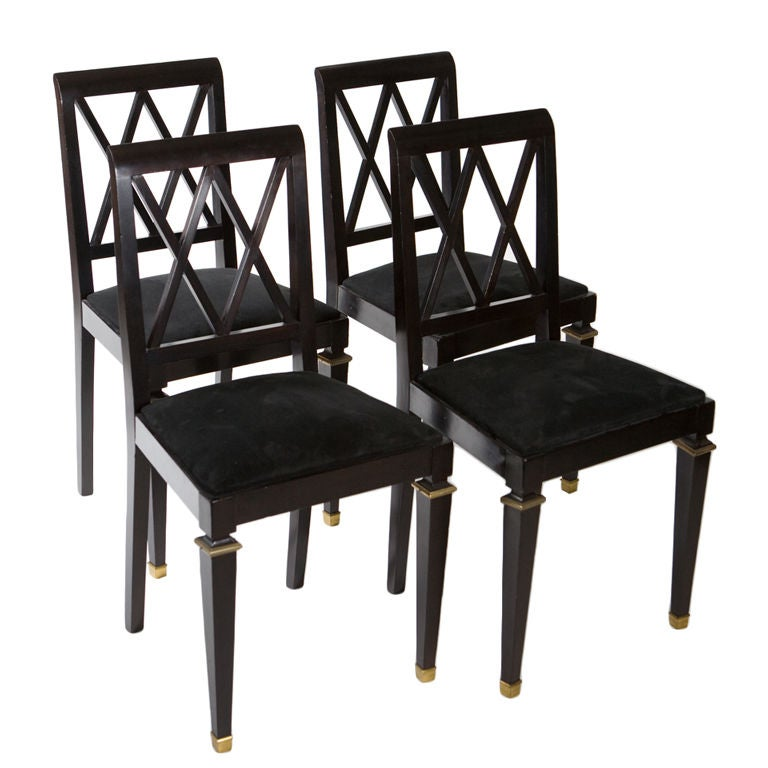 French Neoclassical Ebonized Side Chairs