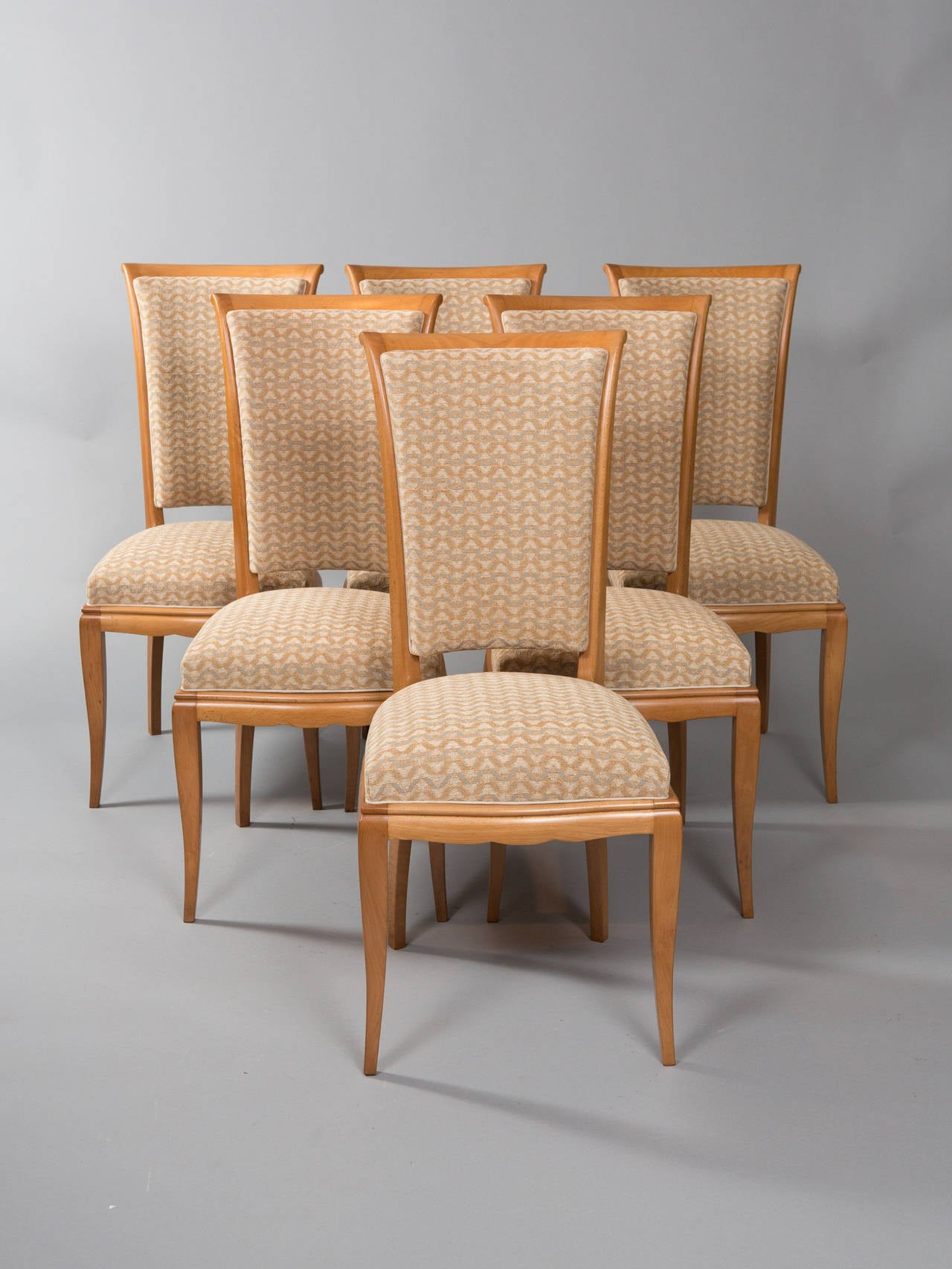 Set of six maple Art Deco Dining chairs. Fully restored and newly upholstered. Seat depth - 16