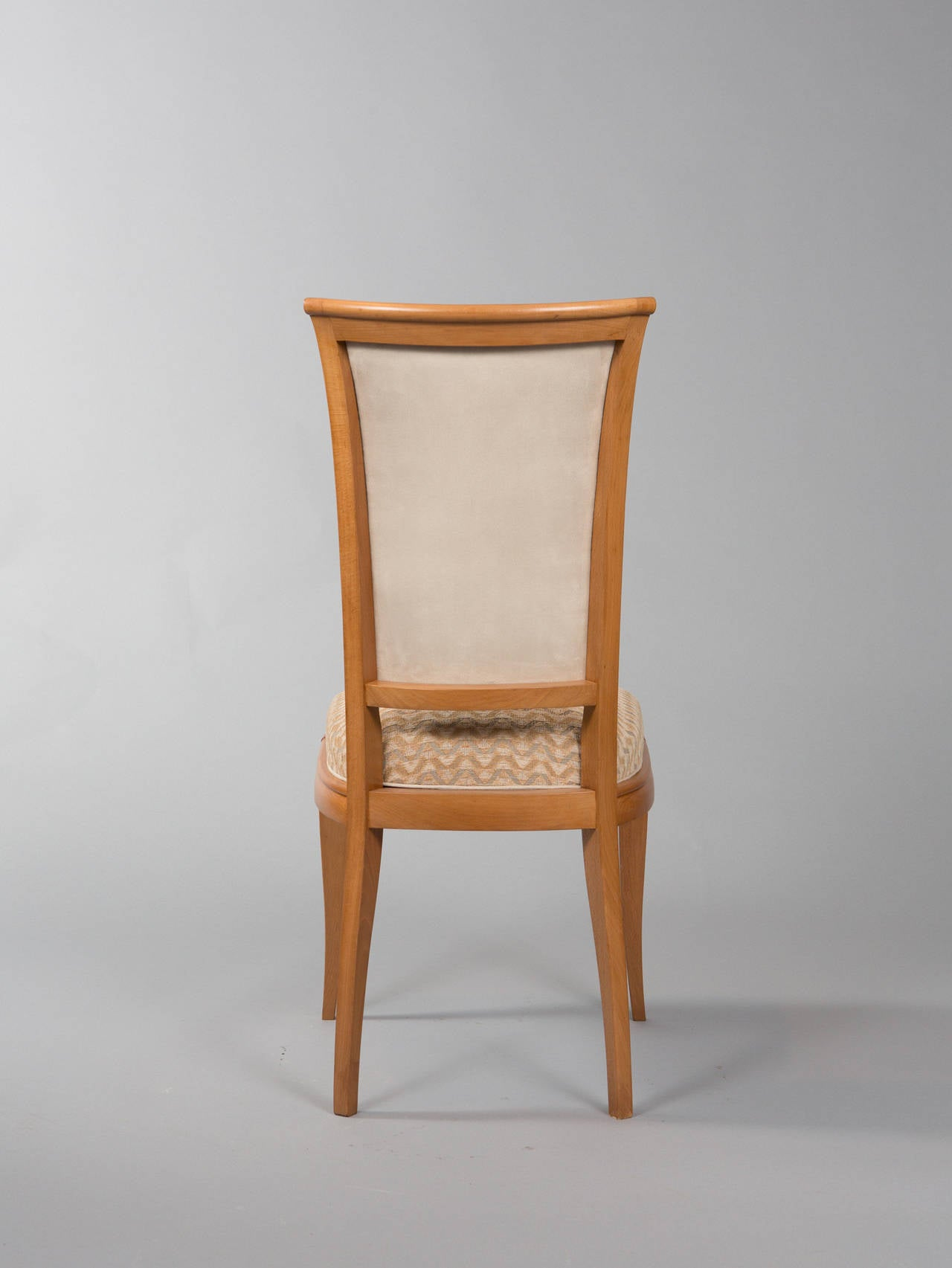 Fabric Set of Six Deco Dining Chairs For Sale