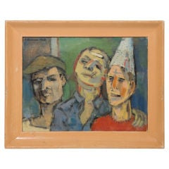 Mid-Century Robert Broner Oil Painting with with 3 Figures