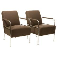 Pair of Chrome Art Moderne Armchairs