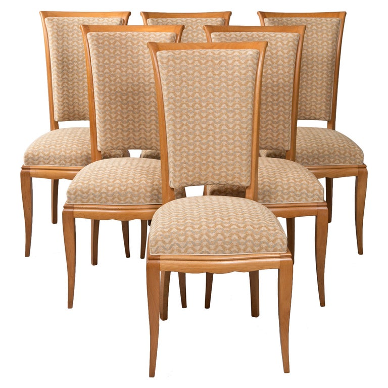 Set of Six Deco Dining Chairs For Sale