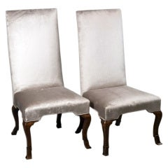 Pair of Tall English Slipper Chairs
