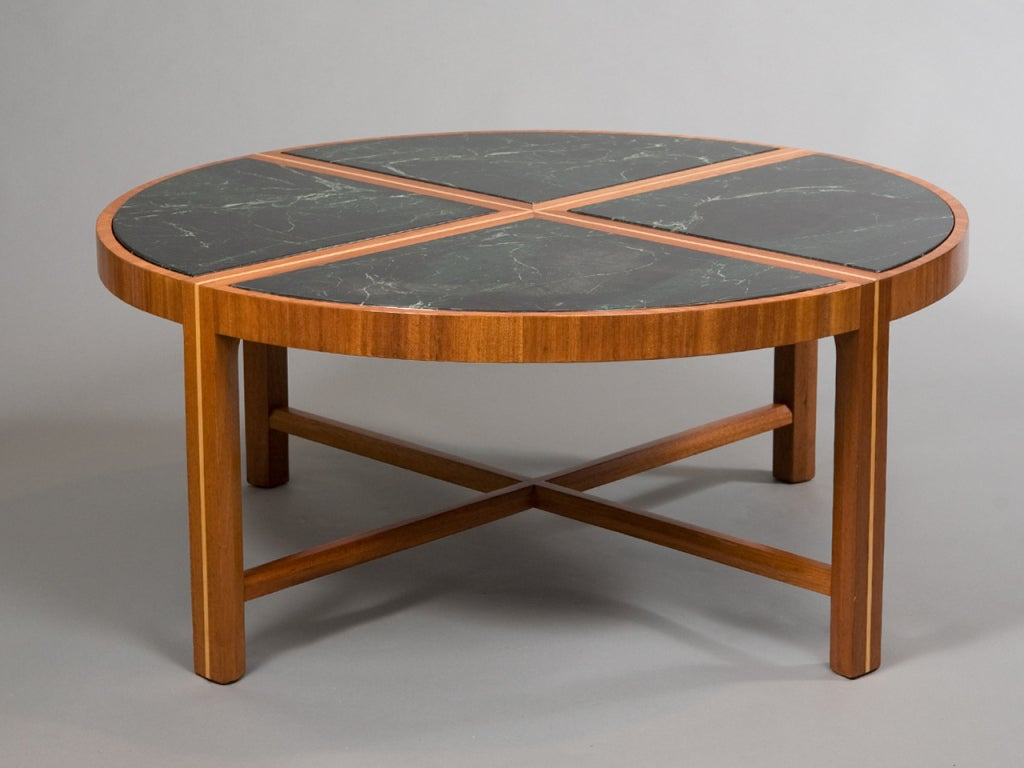 Round Coffee Table With Green Marble Top At 1stdibs