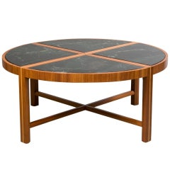 Round Coffee Table with Green Marble Top