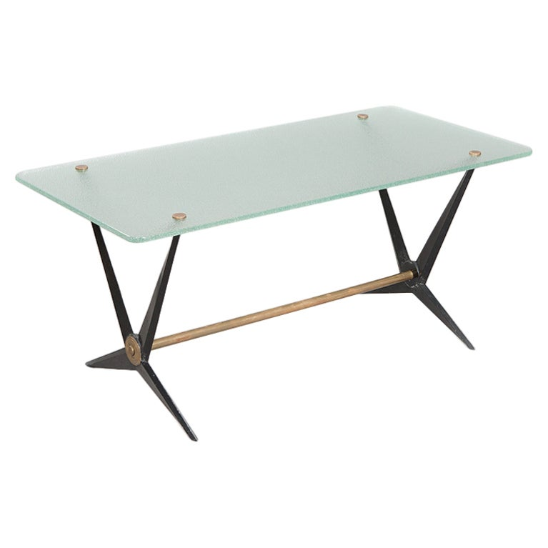 Italian Metal And Glass Coffee Table For Sale At 1stdibs