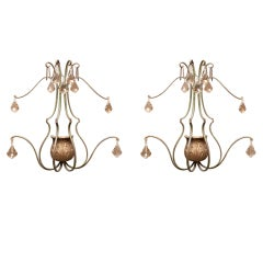 1940's French Painted Metal Sconces with Crystals