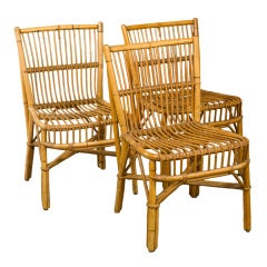 Trio of Bamboo and Cane Side Chairs