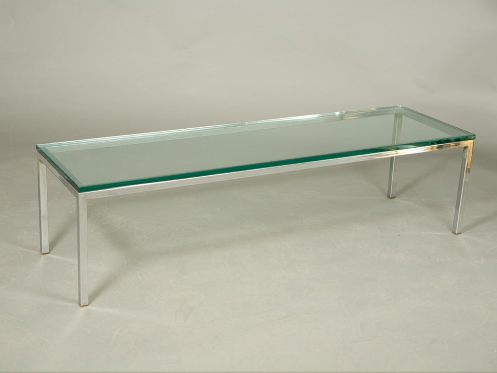 Mid century chrome and glass coffee table at 1stdibs Coffee tables glass
