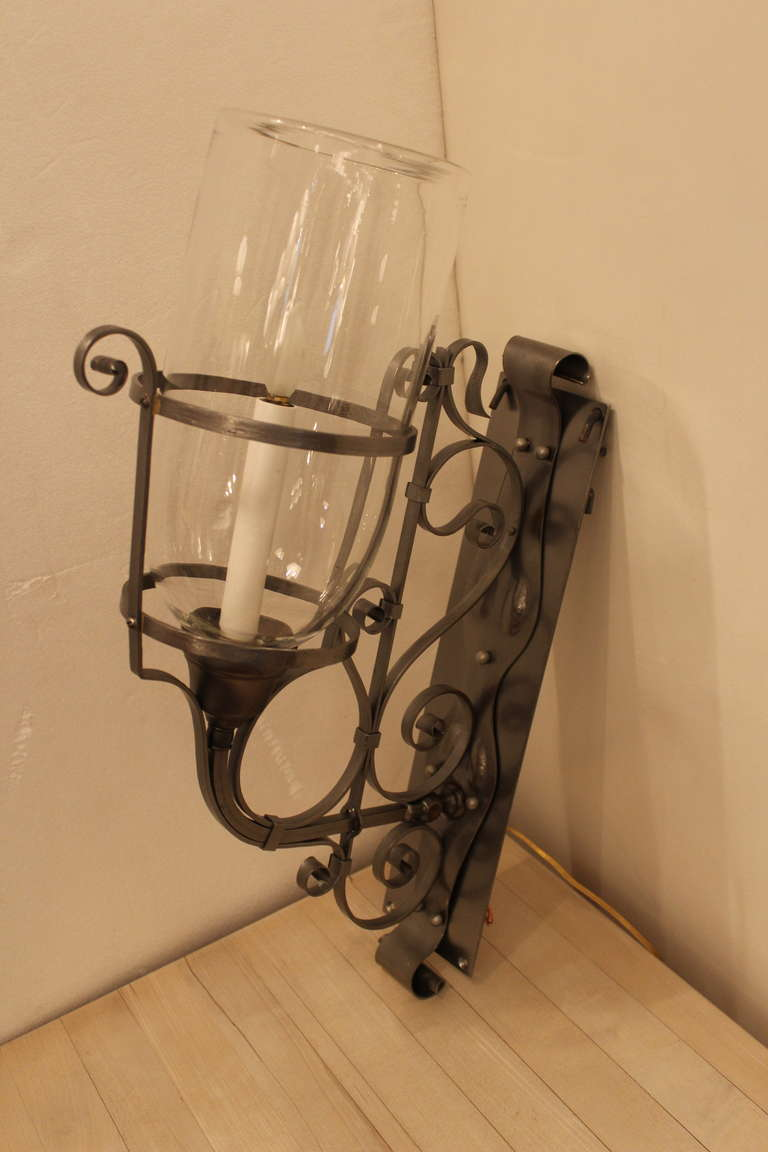 Vintage Glass Wall Sconces : Antique Wall Sconce with Hurricane Glass at 1stdibs