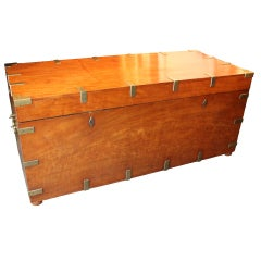 19th Century Mahogany Brass Bound Trunk