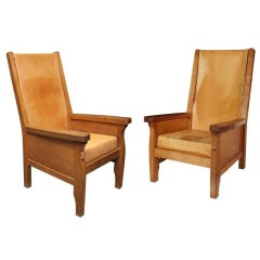 "Pair of Robert ""Mouseman"" Thompson Library Chairs"
