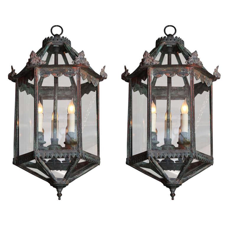 Hexagonal Copper Lanterns At 1stdibs