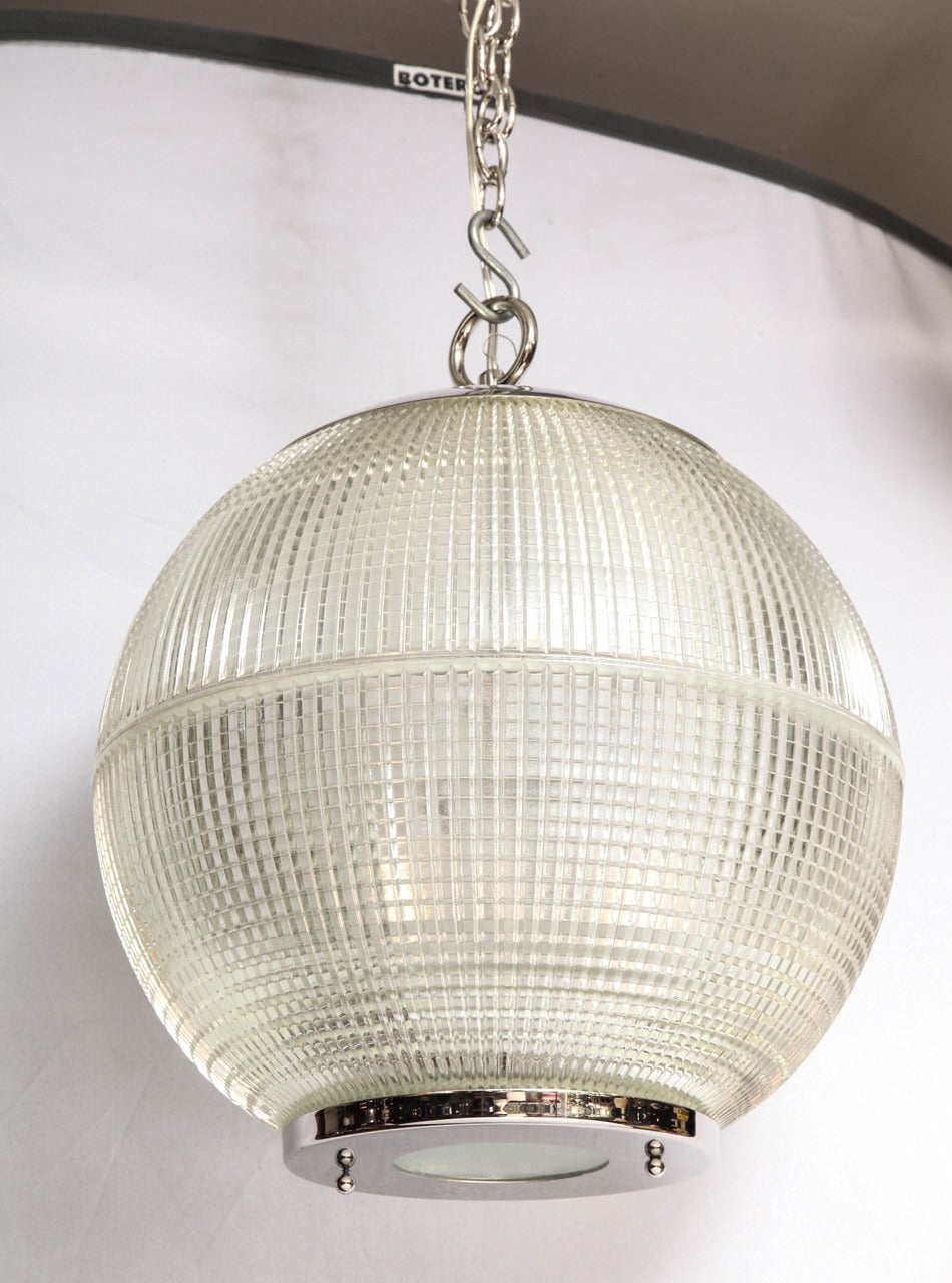 French ball globe, original glass.  Currently the hardware on the fixture has a beautifully shiny polished nickel finish that we engineered after they came in from France. Hardware available in any finish/plating.  Lead time for this fixture is 10