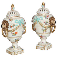 Pair of KPM Berlin Potpourri Vases