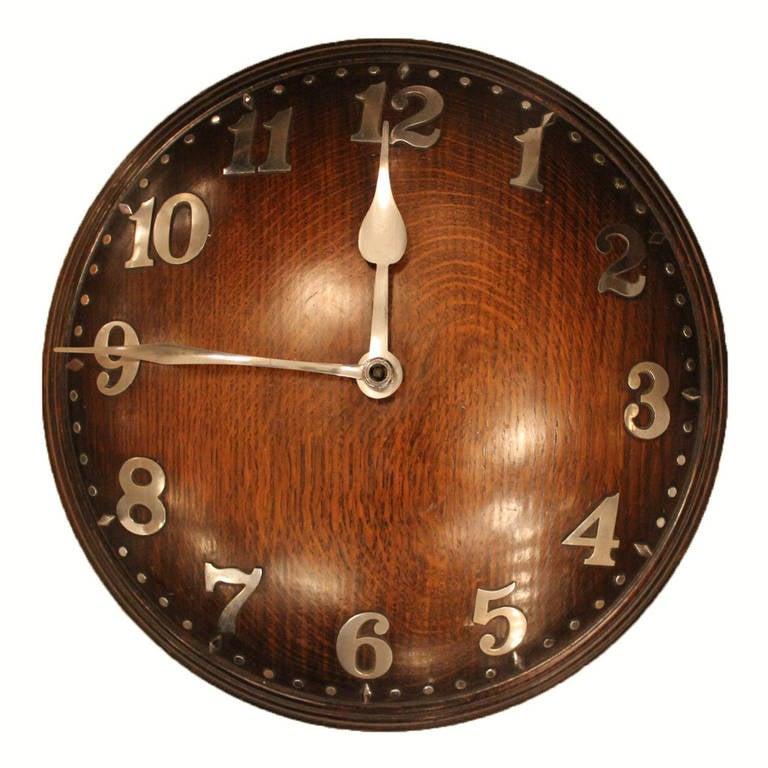 Heal's Wall Clock of Oak and Chrome For Sale