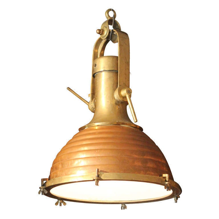 Copper And Brass Ship S Light At 1stdibs