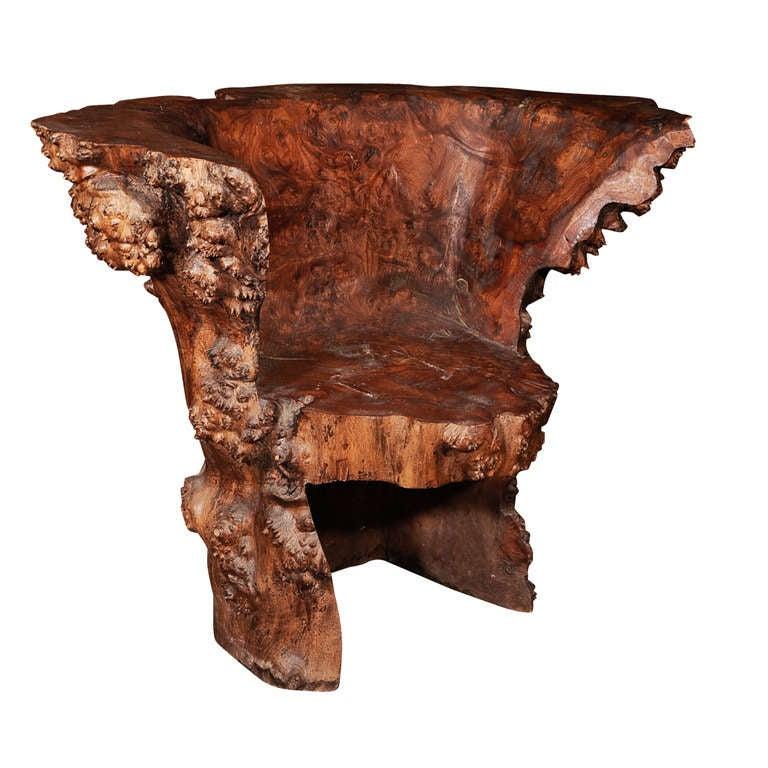 Burl Wood Chair At 1stdibs