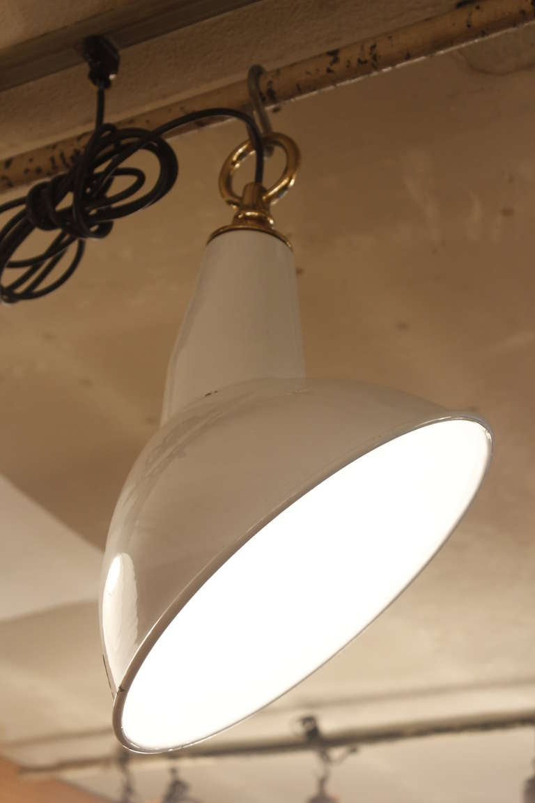 White Enamel Angled Industrial Light In Excellent Condition For Sale In New York, NY
