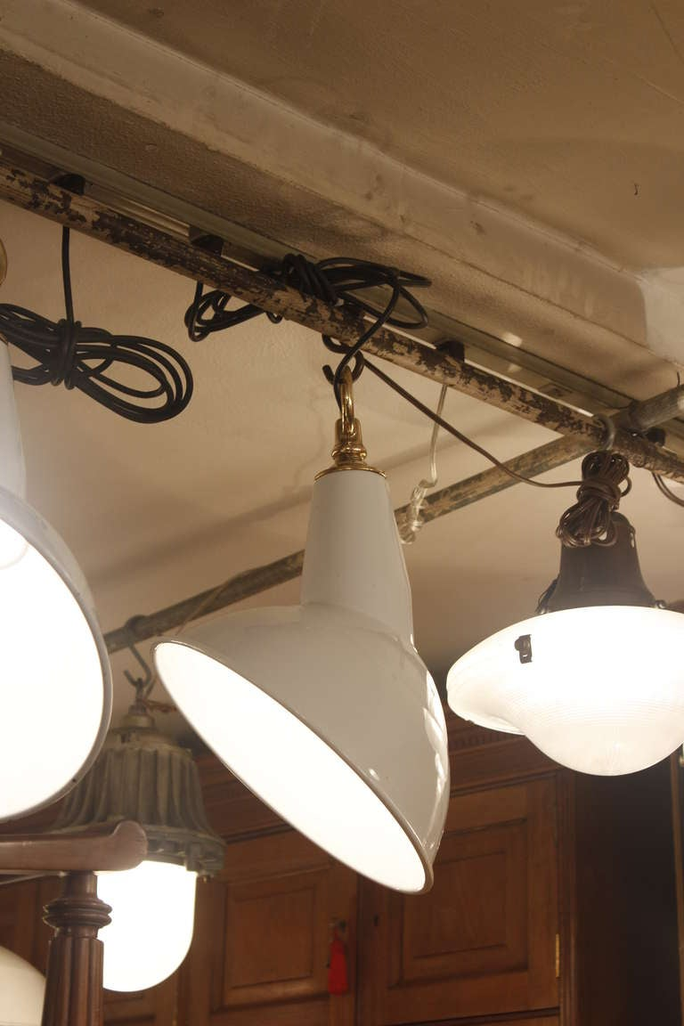 Mid-20th Century White Enamel Angled Industrial Light For Sale