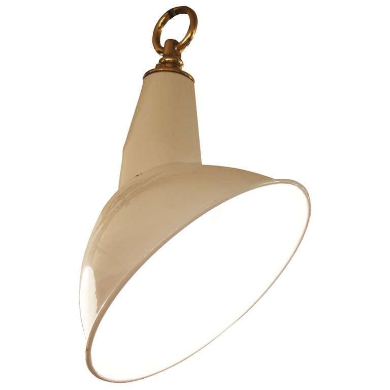 White Enamel Angled Industrial Light For Sale