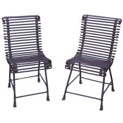 Pair of Forged Iron Labelled Societe Anonyme Folk Chairs