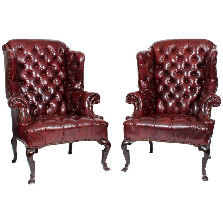 Tufted Leather Wingback Chair Pair of Red Leather Tufted Wing Chairs at 1stdibs