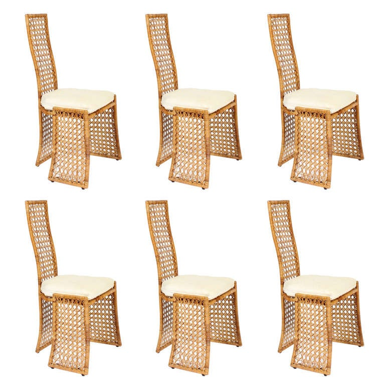 Set of 6 Modern Design Cane or Wicker Side Chairs at 1stdibs