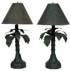 Pair of Tole Palm Tree Lamps and Shades