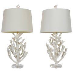 Pair of Faux Coral Custom Table Lamps on Lucite Bases