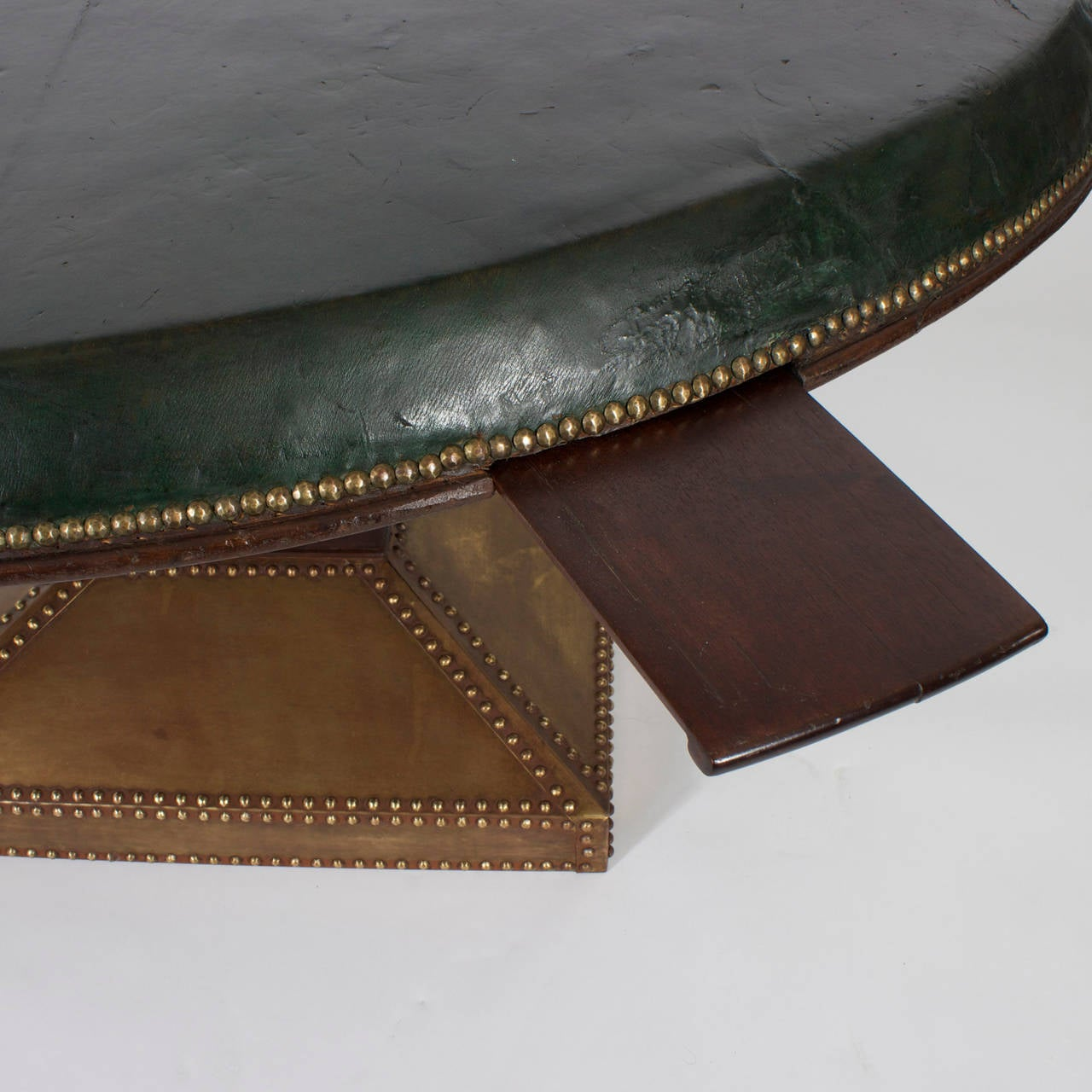 Large Round Leather Top Games Table With Drink Slides At