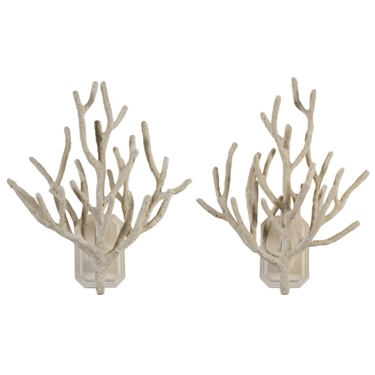 Faux Crystal Wall Sconces : A Pair of Faux Coral Wall Sconces at 1stdibs