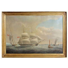 Large 19th Century Oil on Canvas Painting a Marine Scene in the English Channel