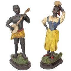 20th Century Carved and Painted Blackamoor Figures